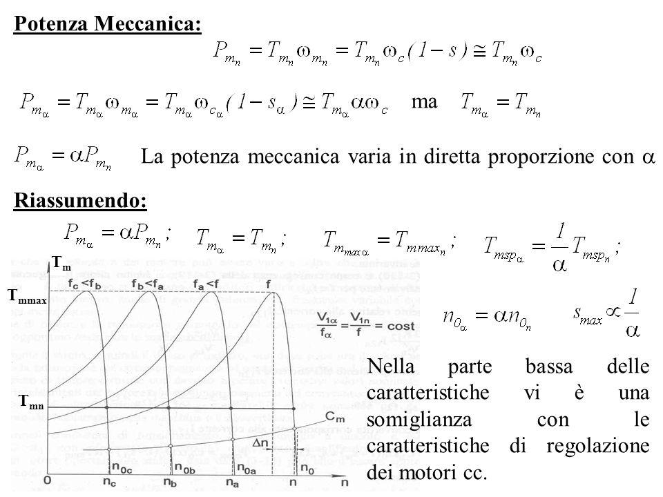 Potenza Meccanica: ma La potenza meccanica varia in diretta proporzione con Riassumendo: TmTm T mmax T mn Nella parte bassa delle caratteristiche vi è