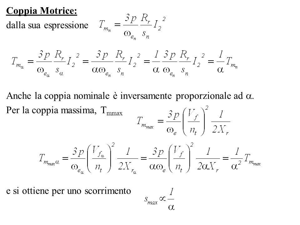 Coppia Motrice: dalla sua espressione Anche la coppia nominale è inversamente proporzionale ad. Per la coppia massima, T mmax e si ottiene per uno sco