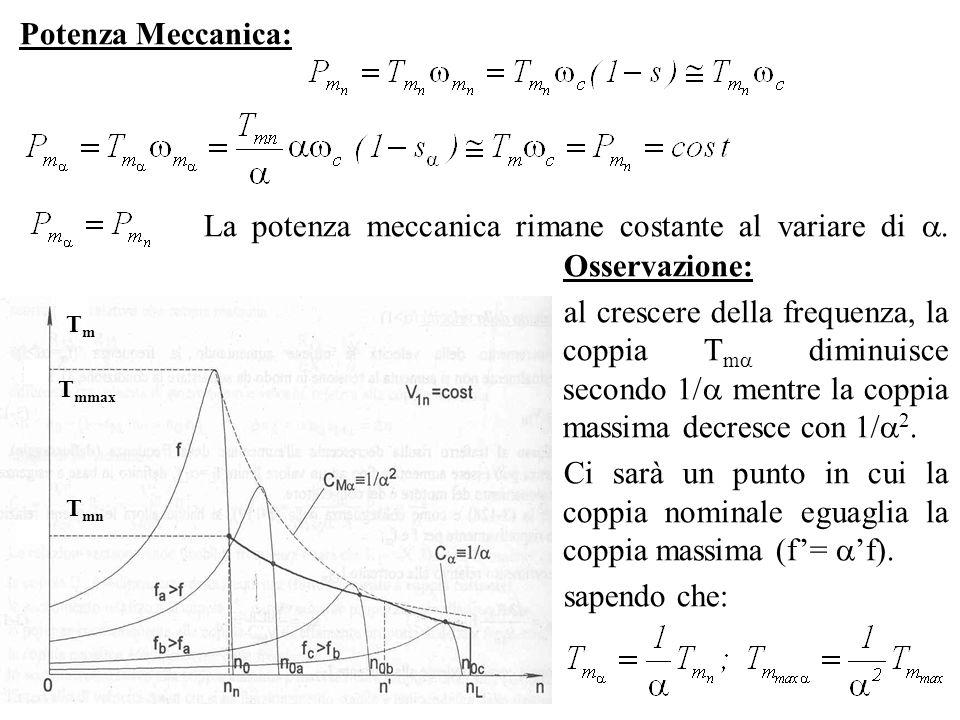Potenza Meccanica: La potenza meccanica rimane costante al variare di. Osservazione: al crescere della frequenza, la coppia T m diminuisce secondo 1/