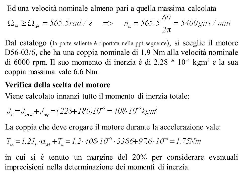 Ed una velocità nominale almeno pari a quella massima calcolata Dal catalogo ( la parte saliente è riportata nella ppt seguente ), si sceglie il motor