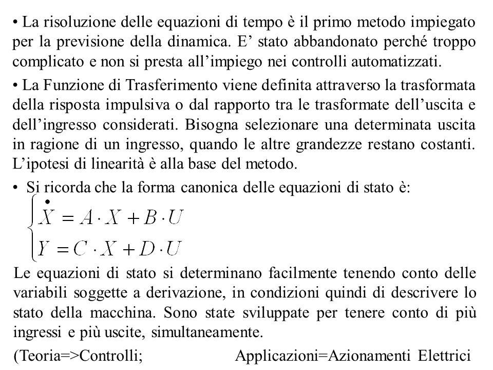 Per ottenere una equazione di stato in forma canonica è necessario invertire la matrice dei coefficienti al primo membro Dove Quindi