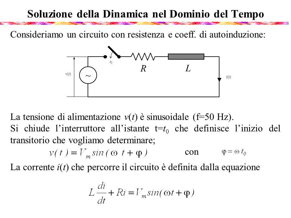 Soluzione della Dinamica nel Dominio del Tempo Consideriamo un circuito con resistenza e coeff. di autoinduzione: La tensione di alimentazione v(t) è