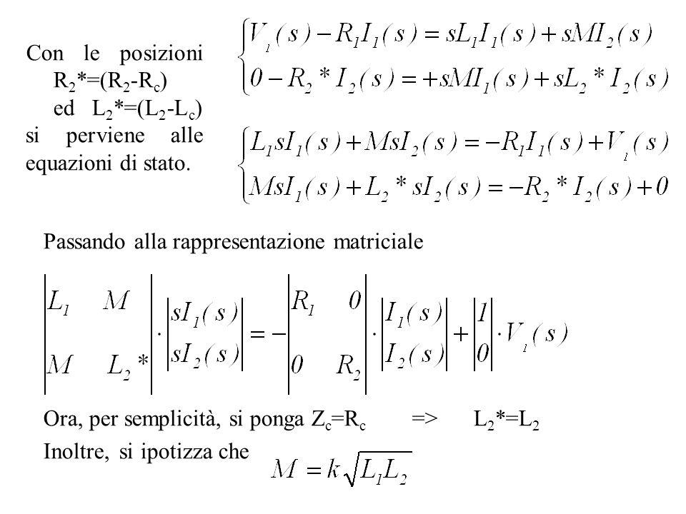Passando alla rappresentazione matriciale Ora, per semplicità, si ponga Z c =R c =>L 2 *=L 2 Inoltre, si ipotizza che Con le posizioni R 2 *=(R 2 -R c