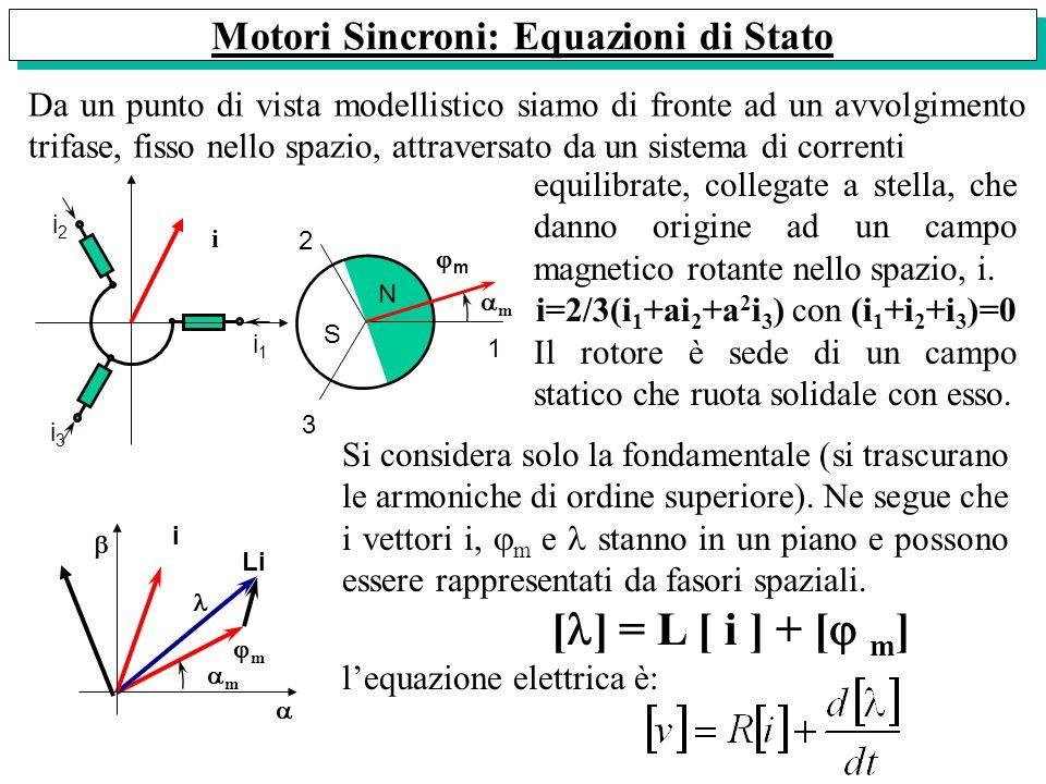 Motori Sincroni: Equazioni di Stato Da un punto di vista modellistico siamo di fronte ad un avvolgimento trifase, fisso nello spazio, attraversato da