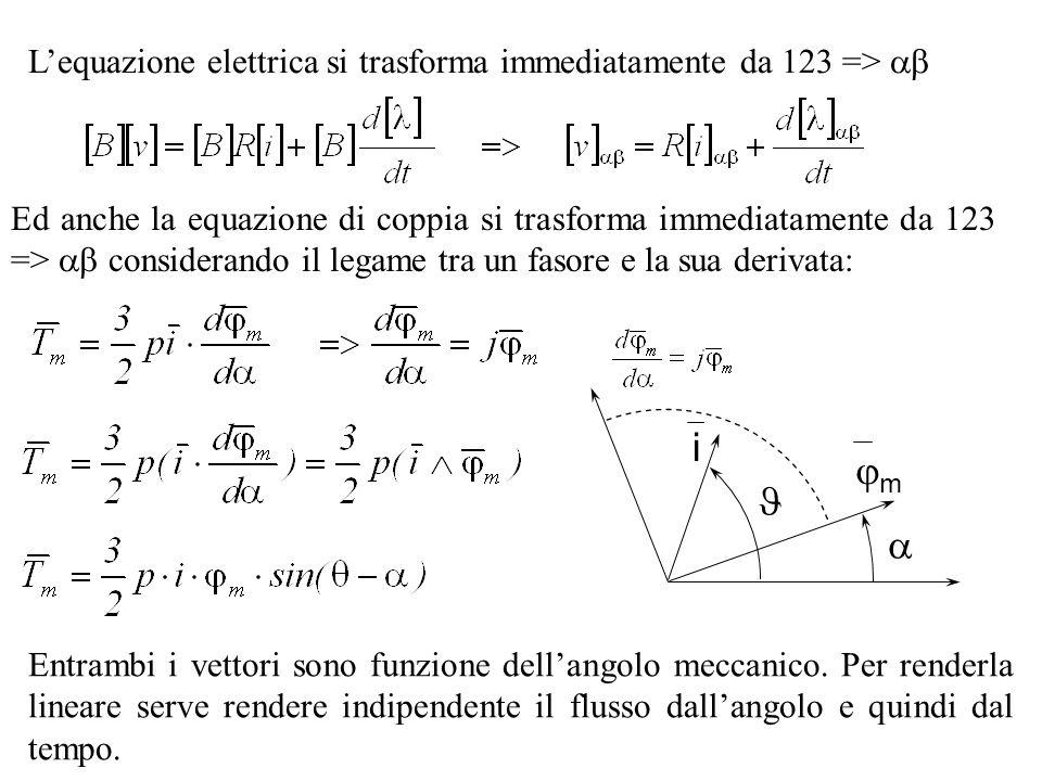 Lequazione elettrica si trasforma immediatamente da 123 => Ed anche la equazione di coppia si trasforma immediatamente da 123 => considerando il legam
