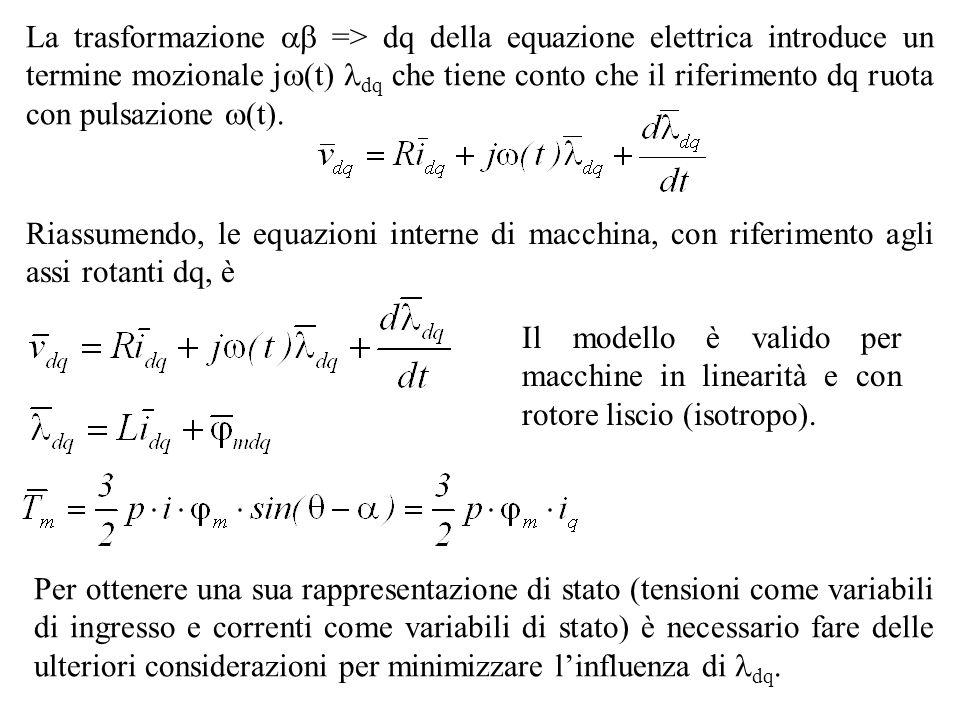 Riassumendo, le equazioni interne di macchina, con riferimento agli assi rotanti dq, è Il modello è valido per macchine in linearità e con rotore lisc