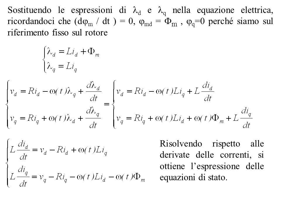 Sostituendo le espressioni di d e q nella equazione elettrica, ricordandoci che (d m / dt ) = 0, md = m, q =0 perché siamo sul riferimento fisso sul r