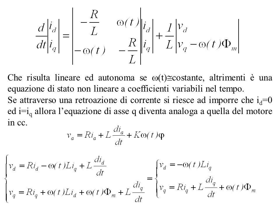 Che risulta lineare ed autonoma se (t) costante, altrimenti è una equazione di stato non lineare a coefficienti variabili nel tempo. Se attraverso una