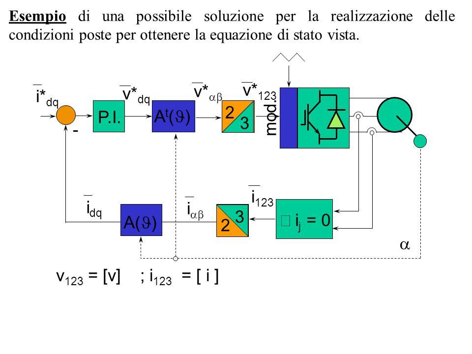P.I. A t ( ) i* dq - v* dq i dq mod. 2 3 2 3 i j = 0 A( ) v* v* 123 i i 123 v 123 = [v] ; i 123 = [ i ] Esempio di una possibile soluzione per la real