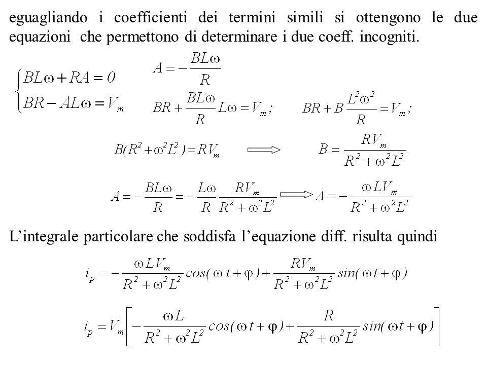 Semplificando dove è stato posto sapendo che Lintegrale particolare cercato assume quindi la forma Gli elementi R ed X= L sono i componenti dellimpedenza: ed in modulo:
