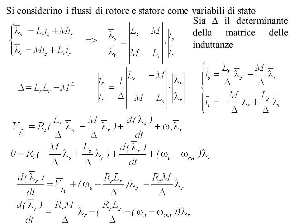 Si considerino i flussi di rotore e statore come variabili di stato => Sia il determinante della matrice delle induttanze