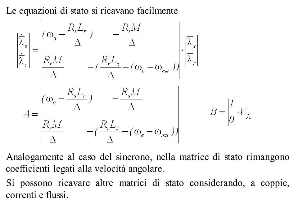 Le equazioni di stato si ricavano facilmente Analogamente al caso del sincrono, nella matrice di stato rimangono coefficienti legati alla velocità ang