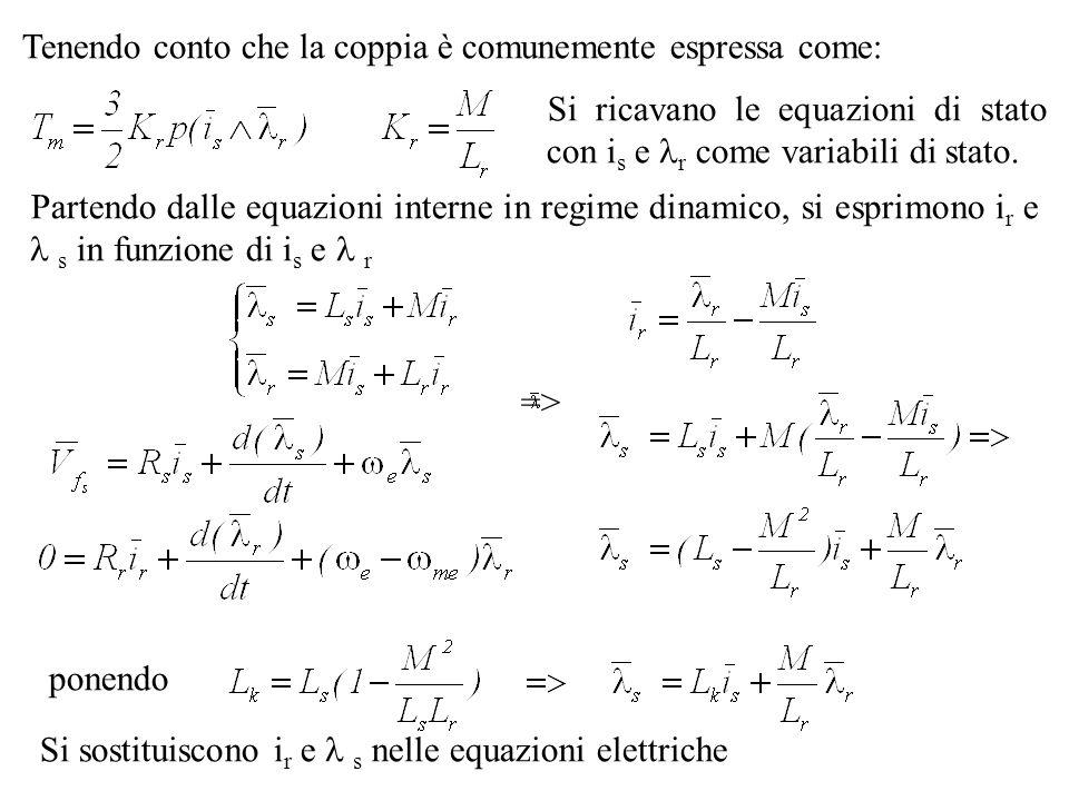 Partendo dalle equazioni interne in regime dinamico, si esprimono i r e s in funzione di i s e r => Tenendo conto che la coppia è comunemente espressa