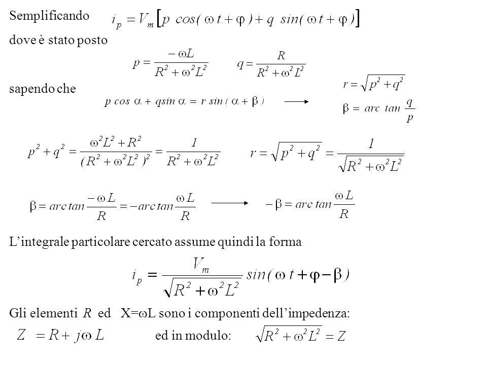 Semplificando dove è stato posto sapendo che Lintegrale particolare cercato assume quindi la forma Gli elementi R ed X= L sono i componenti dellimpede
