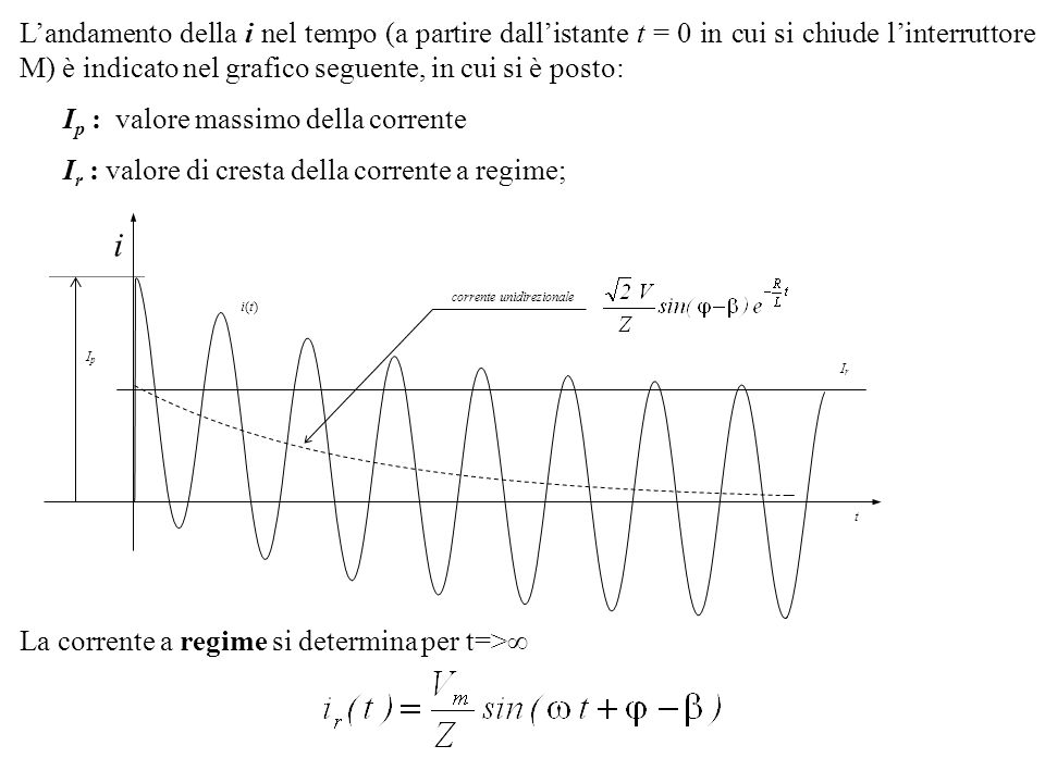 La corrente a regime è sfasata in ritardo rispetto alla tensione dellangolo ed ha (comè ovvio) un valore efficace ed un valore di cresta Se la resistenza R è trascurabile nei confronti della reattanza X= L (R<<X), si ha che /2 e quindi la corrente di corto a regime, sfasata di 90° in ritardo rispetto alla tensione, è data da: Il valore di picco della corrente, I p, dipende dallangolo di fase della tensione applicata, = t 0 e quindi dallistante t 0 in cui ha inizio la circolazione di corrente.