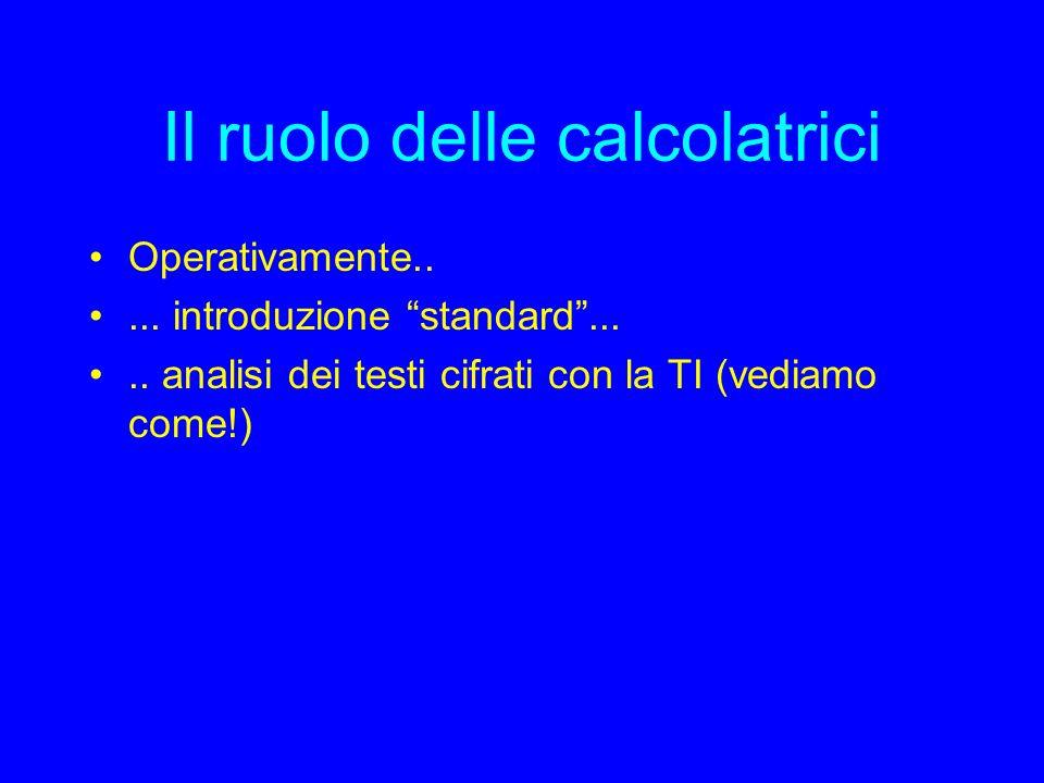 Il ruolo delle calcolatrici Operativamente..... introduzione standard.....