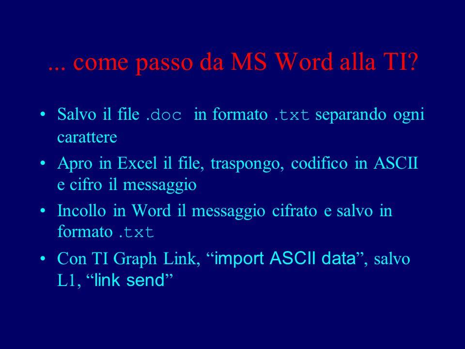 ... come passo da MS Word alla TI. Salvo il file.