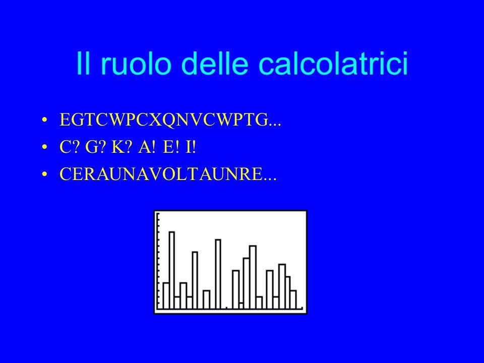 Il ruolo delle calcolatrici EGTCWPCXQNVCWPTG... C G K A! E! I! CERAUNAVOLTAUNRE...