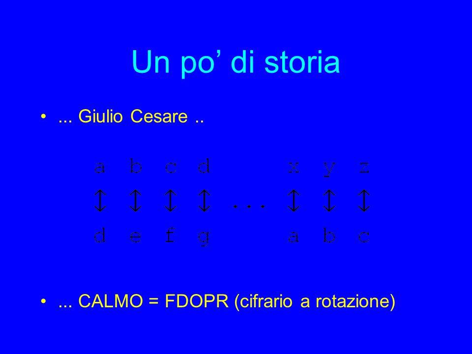 Un po di storia... Giulio Cesare..... CALMO = FDOPR (cifrario a rotazione)