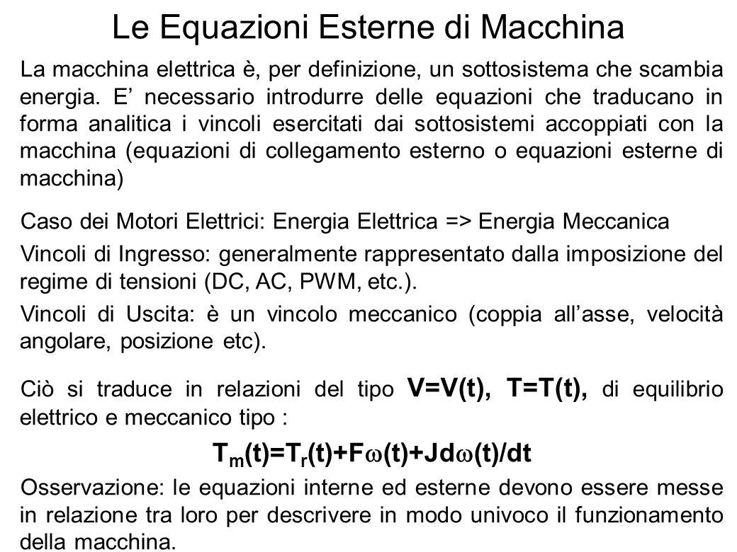 12 Le Equazioni Esterne di Macchina La macchina elettrica è, per definizione, un sottosistema che scambia energia. E necessario introdurre delle equaz