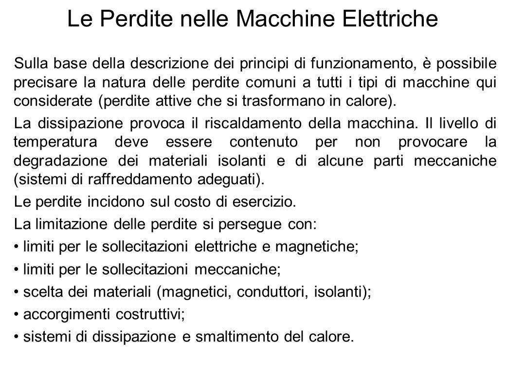 13 Le Perdite nelle Macchine Elettriche Sulla base della descrizione dei principi di funzionamento, è possibile precisare la natura delle perdite comu