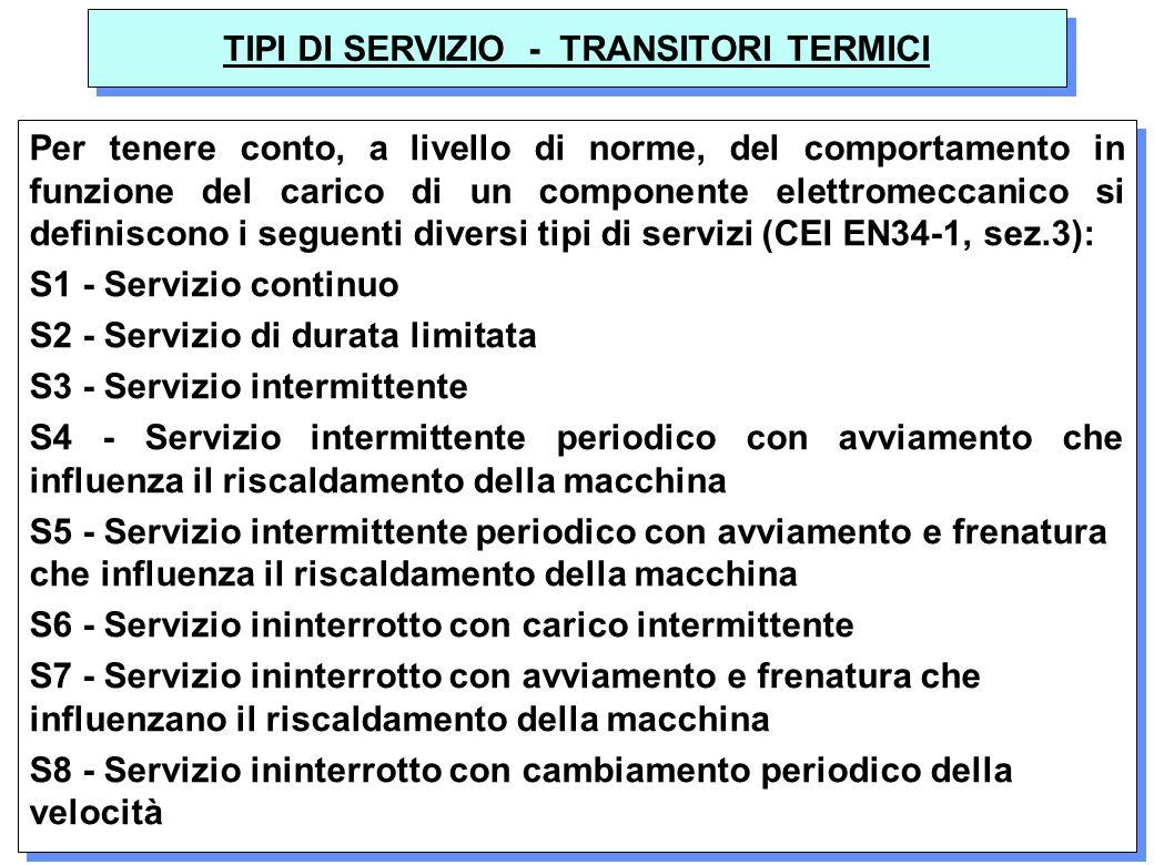 24 TIPI DI SERVIZIO - TRANSITORI TERMICI Per tenere conto, a livello di norme, del comportamento in funzione del carico di un componente elettromeccan