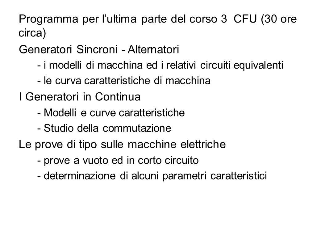 3 Programma per lultima parte del corso 3 CFU (30 ore circa) Generatori Sincroni - Alternatori - i modelli di macchina ed i relativi circuiti equivale