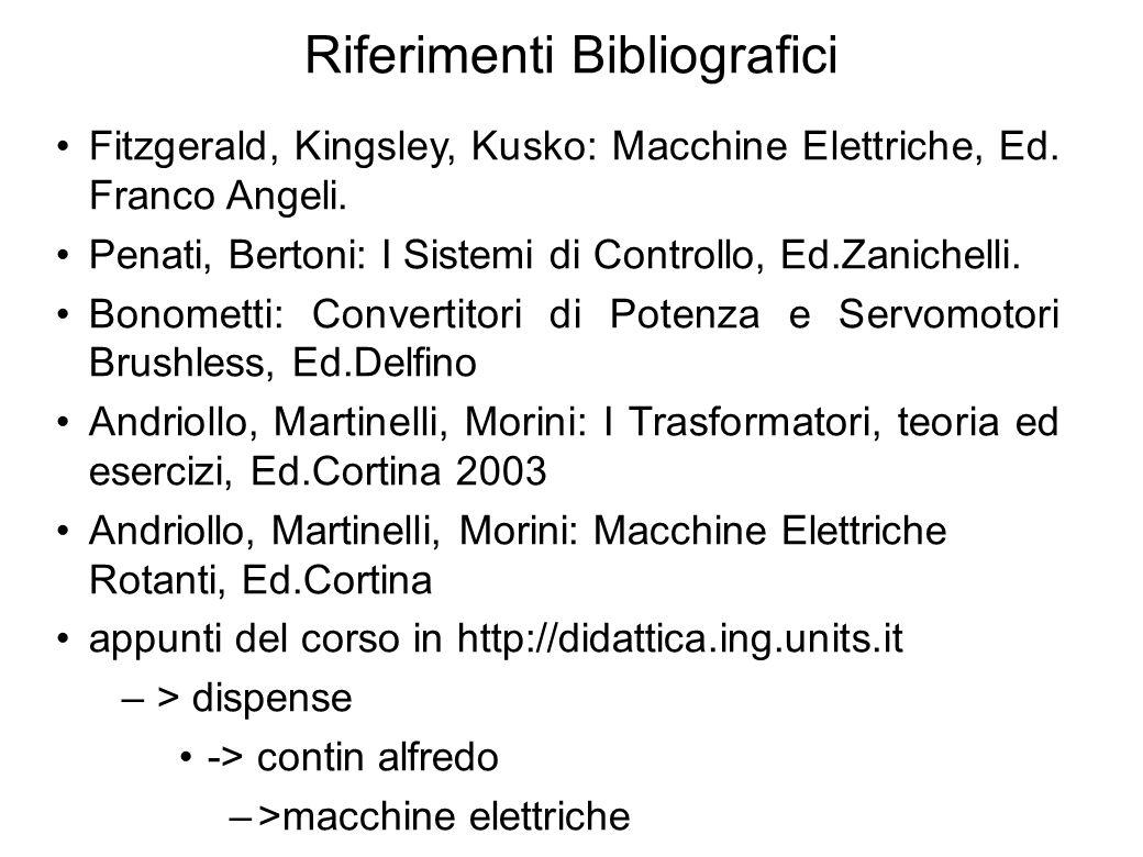 4 Riferimenti Bibliografici Fitzgerald, Kingsley, Kusko: Macchine Elettriche, Ed. Franco Angeli. Penati, Bertoni: I Sistemi di Controllo, Ed.Zanichell