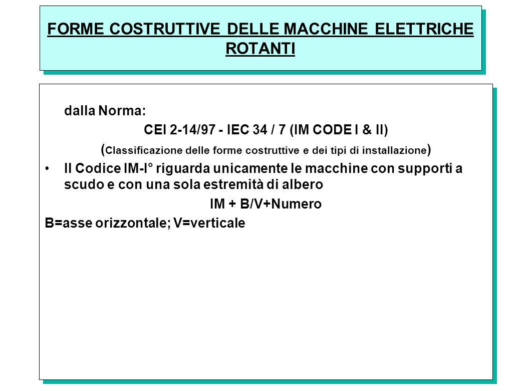 43 FORME COSTRUTTIVE DELLE MACCHINE ELETTRICHE ROTANTI Le forme costruttive delle macchine elettriche rotanti sono definite dalla Norma: CEI 2-14/97 -