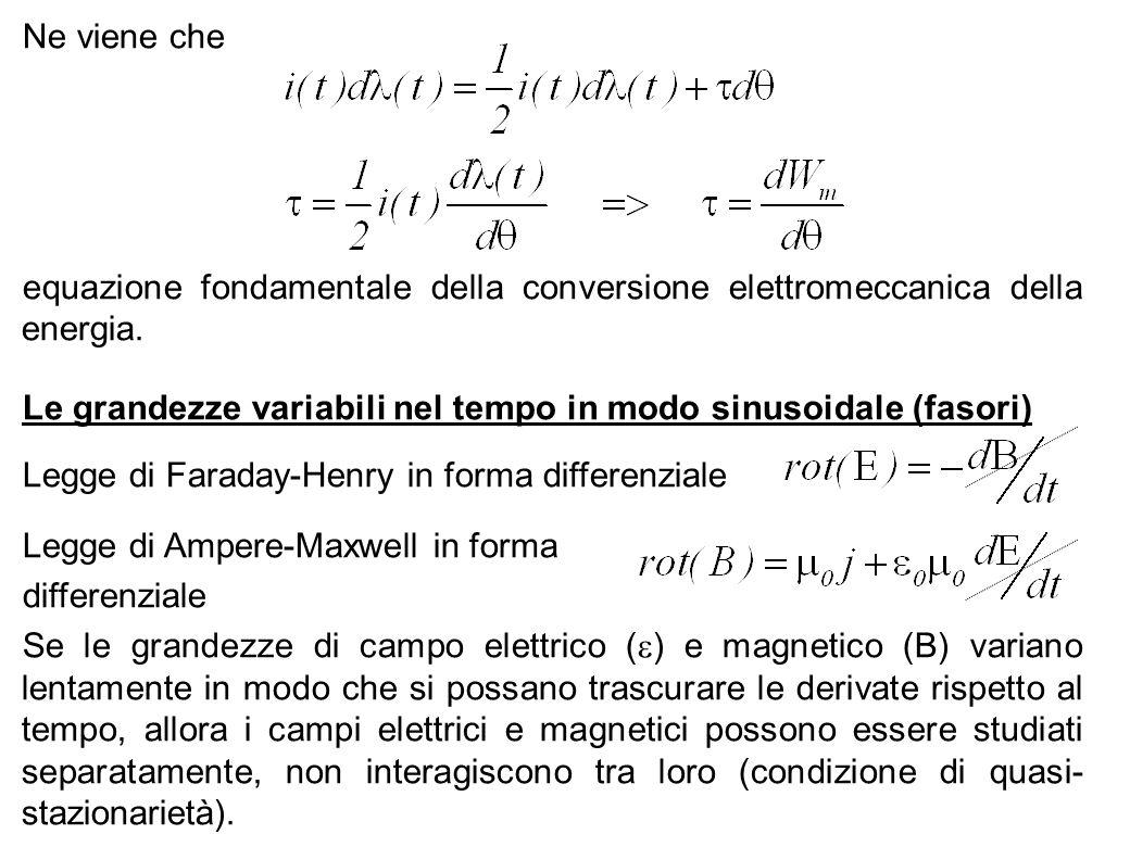 59 Ne viene che equazione fondamentale della conversione elettromeccanica della energia. Le grandezze variabili nel tempo in modo sinusoidale (fasori)