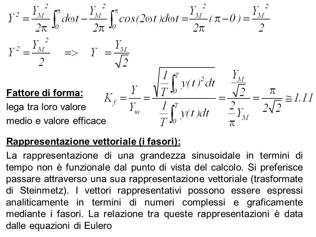 62 Fattore di forma: lega tra loro valore medio e valore efficace Rappresentazione vettoriale (i fasori): La rappresentazione di una grandezza sinusoi