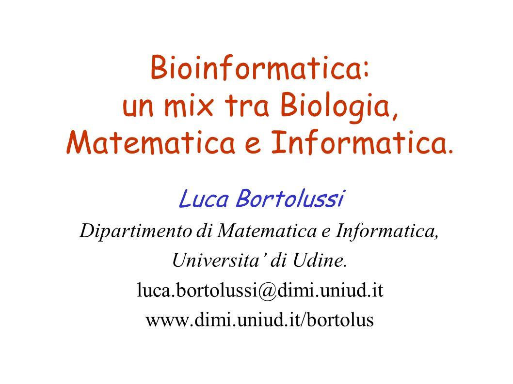 Bioinformatica: un mix tra Biologia, Matematica e Informatica. Luca Bortolussi Dipartimento di Matematica e Informatica, Universita di Udine. luca.bor