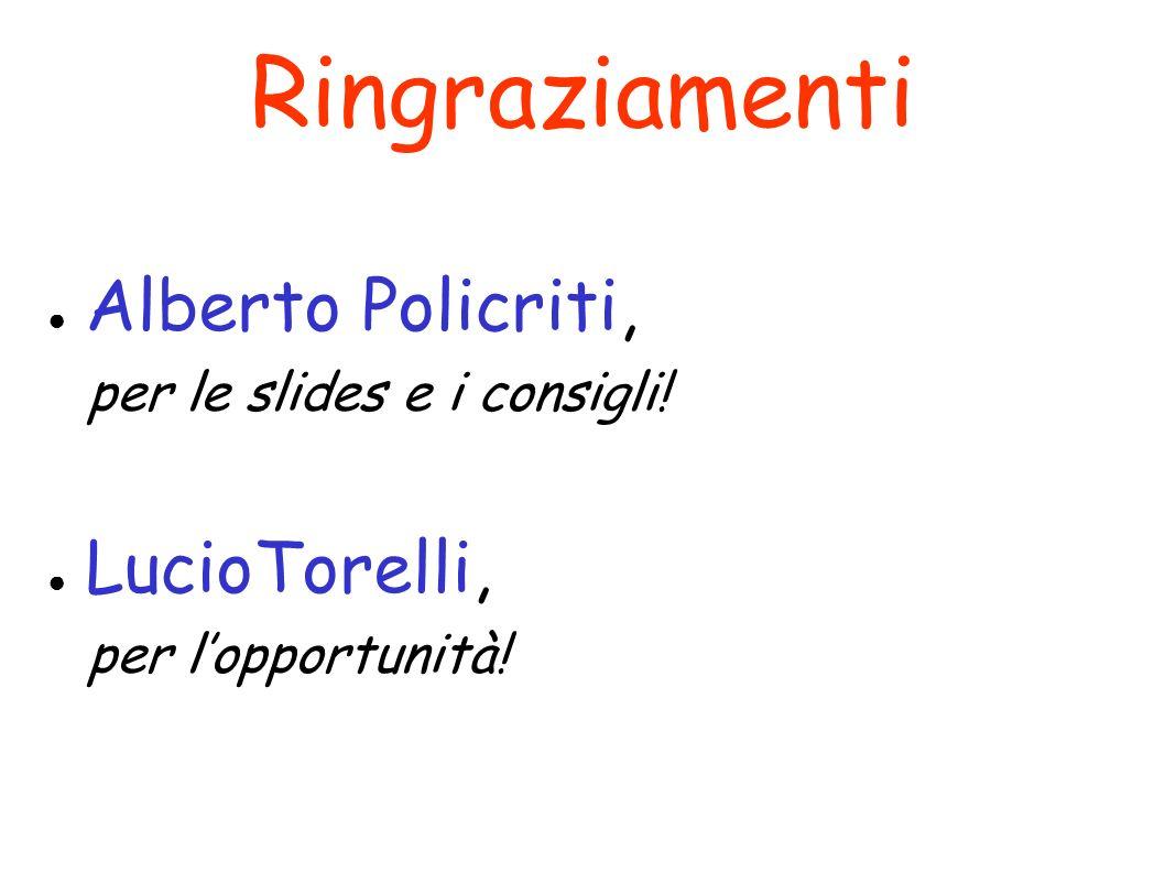 Ringraziamenti Alberto Policriti, per le slides e i consigli! LucioTorelli, per lopportunità!