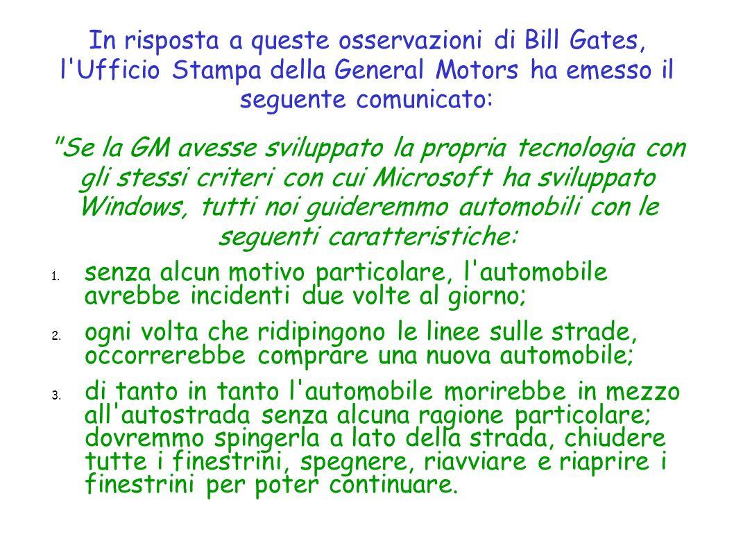 In risposta a queste osservazioni di Bill Gates, l'Ufficio Stampa della General Motors ha emesso il seguente comunicato: