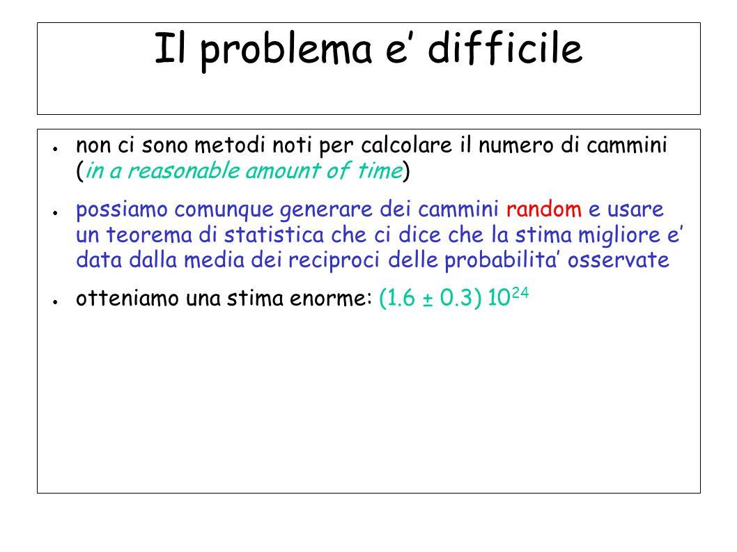 Il problema e difficile non ci sono metodi noti per calcolare il numero di cammini (in a reasonable amount of time) possiamo comunque generare dei cam