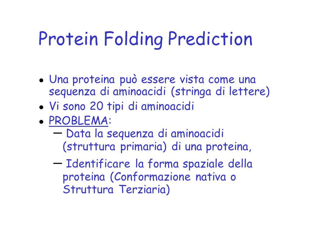Protein Folding Prediction Una proteina può essere vista come una sequenza di aminoacidi (stringa di lettere) Vi sono 20 tipi di aminoacidi PROBLEMA: