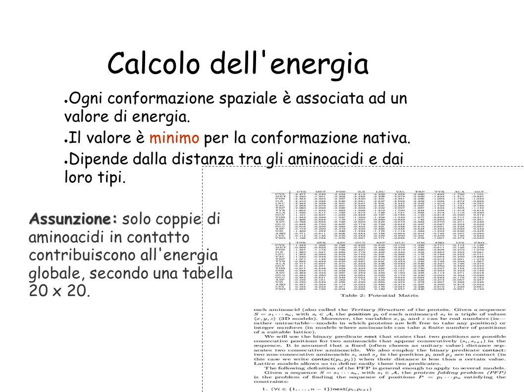 Calcolo dell'energia Ogni conformazione spaziale è associata ad un valore di energia. Il valore è minimo per la conformazione nativa. Dipende dalla di
