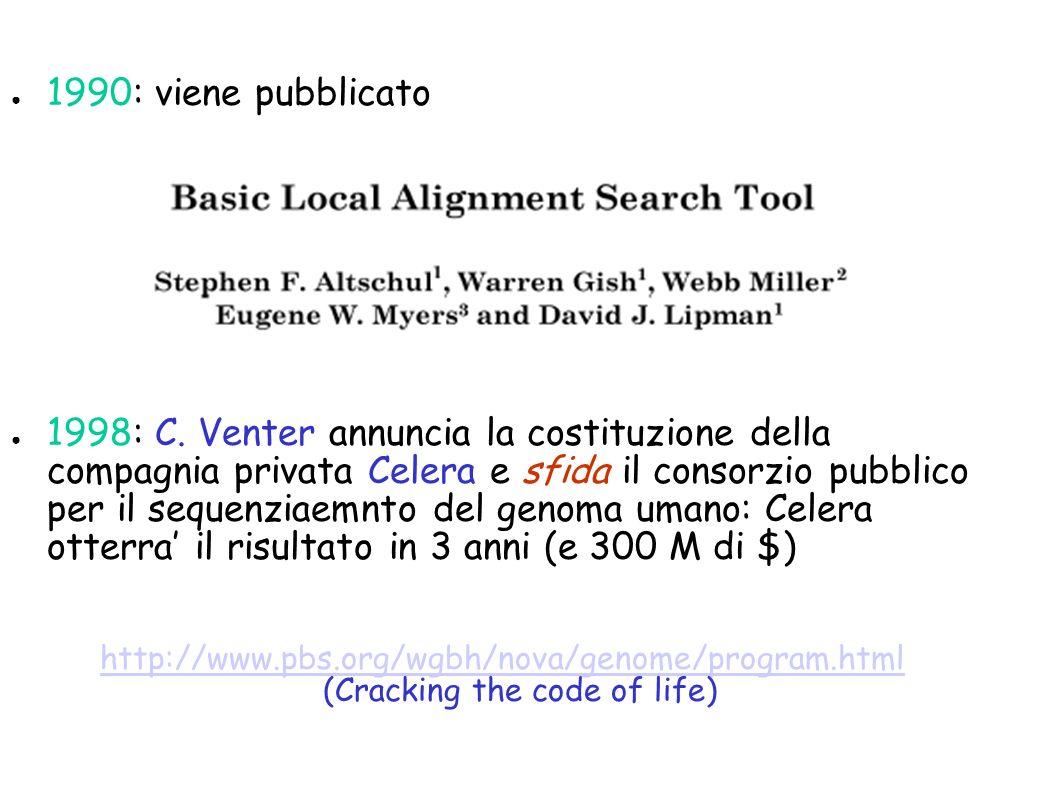 1990: viene pubblicato 1998: C. Venter annuncia la costituzione della compagnia privata Celera e sfida il consorzio pubblico per il sequenziaemnto del