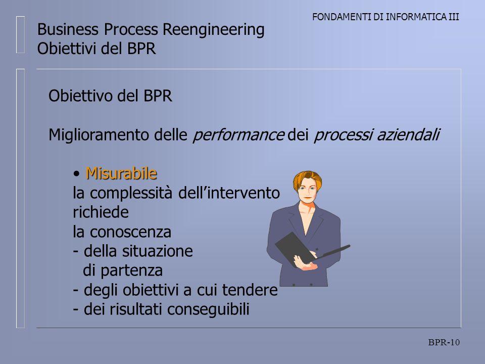 FONDAMENTI DI INFORMATICA III BPR-10 Business Process Reengineering Obiettivi del BPR Obiettivo del BPR Miglioramento delle performance dei processi aziendali Misurabile Misurabile la complessità dellintervento richiede la conoscenza - della situazione di partenza - degli obiettivi a cui tendere - dei risultati conseguibili