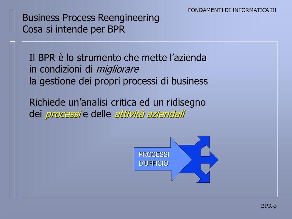 FONDAMENTI DI INFORMATICA III BPR-3 PROCESSIDUFFICIO Business Process Reengineering Cosa si intende per BPR Il BPR è lo strumento che mette lazienda i
