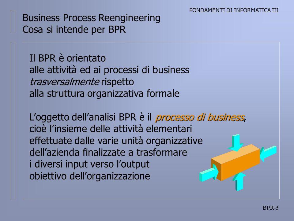 FONDAMENTI DI INFORMATICA III BPR-5 Business Process Reengineering Cosa si intende per BPR Il BPR è orientato alle attività ed ai processi di business trasversalmente rispetto alla struttura organizzativa formale processo di business Loggetto dellanalisi BPR è il processo di business, cioè linsieme delle attività elementari effettuate dalle varie unità organizzative dellazienda finalizzate a trasformare i diversi input verso loutput obiettivo dellorganizzazione