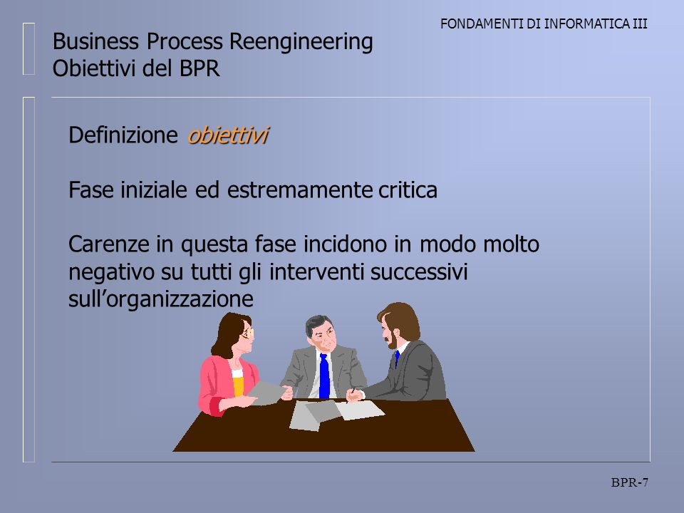 FONDAMENTI DI INFORMATICA III BPR-7 Business Process Reengineering Obiettivi del BPR obiettivi Definizione obiettivi Fase iniziale ed estremamente critica Carenze in questa fase incidono in modo molto negativo su tutti gli interventi successivi sullorganizzazione