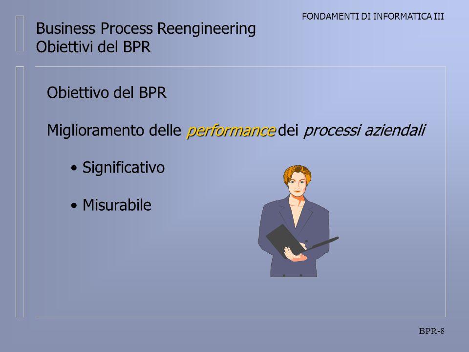 FONDAMENTI DI INFORMATICA III BPR-8 Business Process Reengineering Obiettivi del BPR Obiettivo del BPR performance Miglioramento delle performance dei processi aziendali Significativo Misurabile