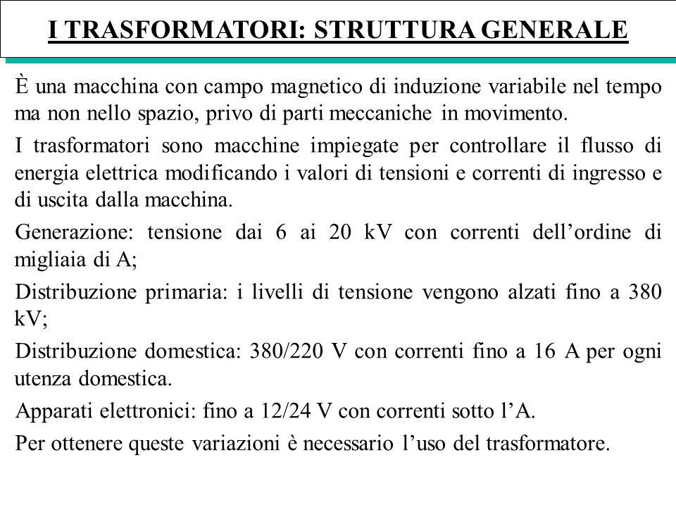 I TRASFORMATORI: STRUTTURA GENERALE È una macchina con campo magnetico di induzione variabile nel tempo ma non nello spazio, privo di parti meccaniche