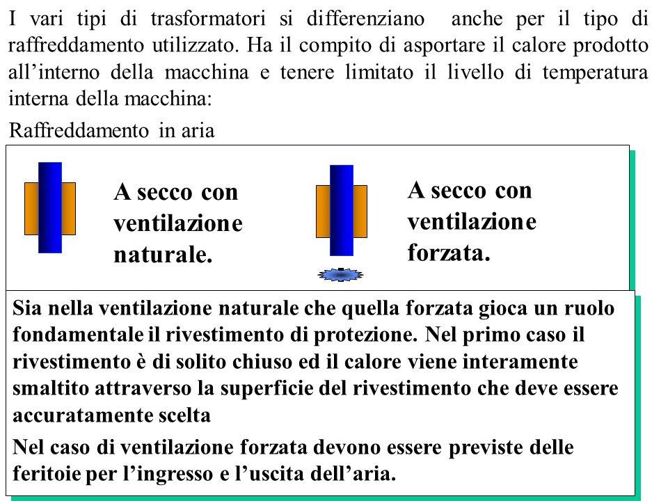 I vari tipi di trasformatori si differenziano anche per il tipo di raffreddamento utilizzato. Ha il compito di asportare il calore prodotto allinterno