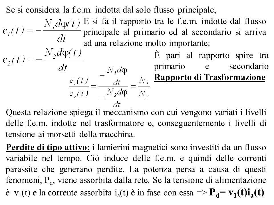 Se si considera la f.e.m. indotta dal solo flusso principale, E si fa il rapporto tra le f.e.m. indotte dal flusso principale al primario ed al second