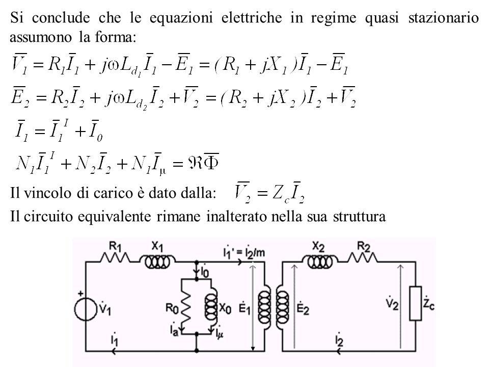 Il vincolo di carico è dato dalla: Il circuito equivalente rimane inalterato nella sua struttura Si conclude che le equazioni elettriche in regime qua