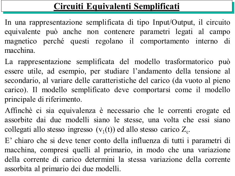 Circuiti Equivalenti Semplificati In una rappresentazione semplificata di tipo Input/Output, il circuito equivalente può anche non contenere parametri