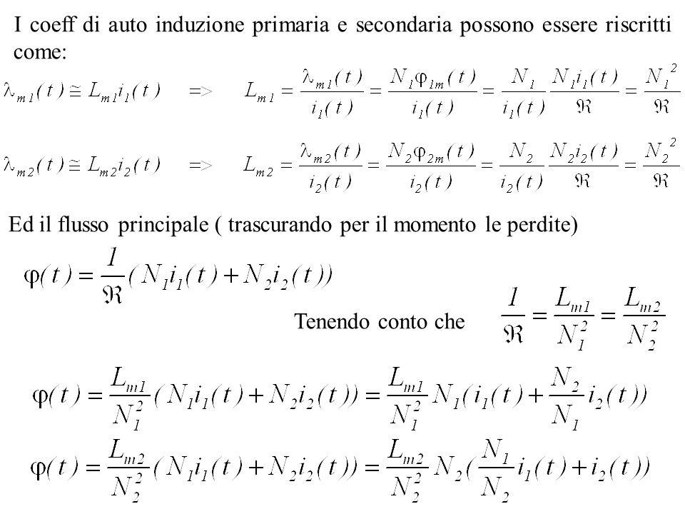 I coeff di auto induzione primaria e secondaria possono essere riscritti come: Ed il flusso principale ( trascurando per il momento le perdite) Tenend
