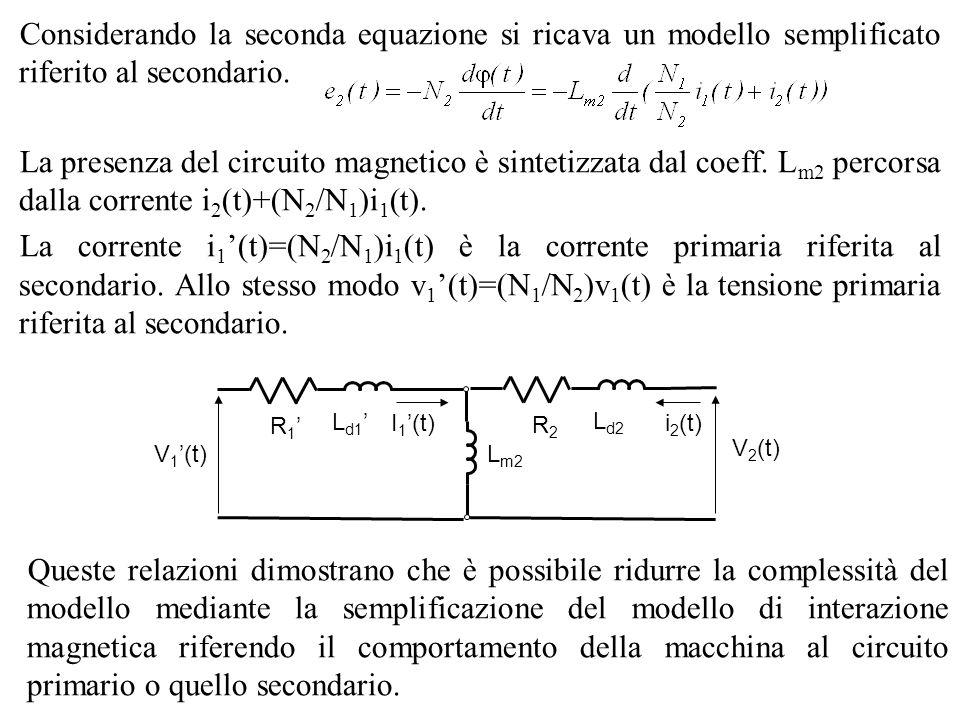 Considerando la seconda equazione si ricava un modello semplificato riferito al secondario. La presenza del circuito magnetico è sintetizzata dal coef